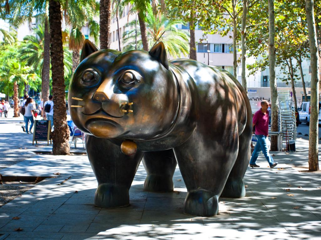 The sculpture El Gato de Botero on Rambla del Raval in Barcelona