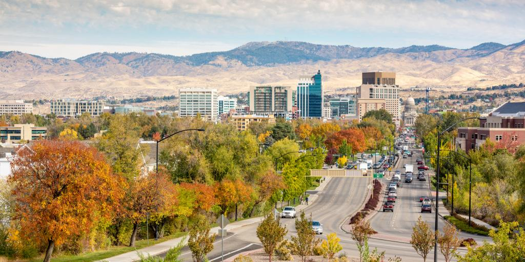 Autumn leaves in Boise, Idaho, with mountains in the background