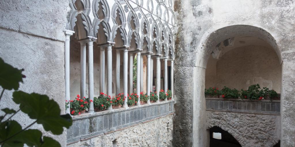 The beautiful courtyard in Villa Rufolo has Moorish influences similar to Spain's Alhambra