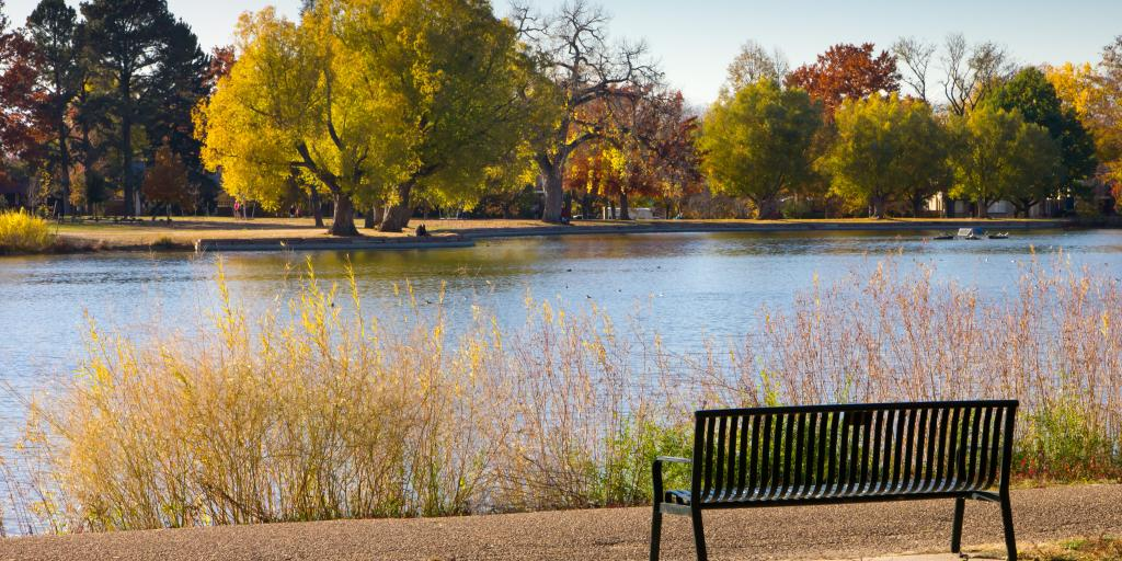 A bench and colorful trees in the fall in Washington Park in Denver, Colorado