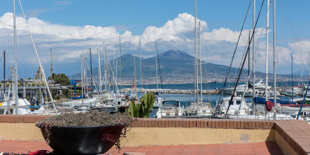 A view of Mount Vesuvius from the Lungomare promenade