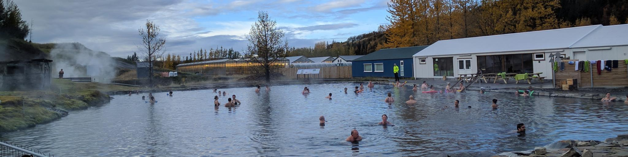 Steam rises from the hot springs at the Secret Lagoon