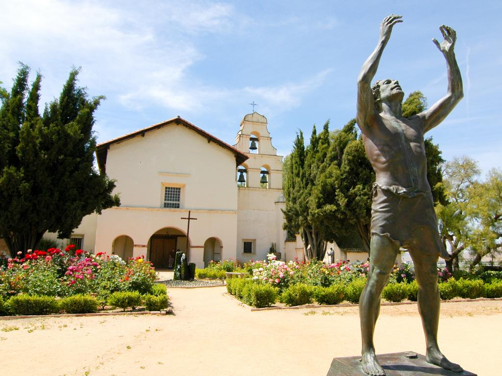 Statue in front of the Mission San Juan Bautista, California