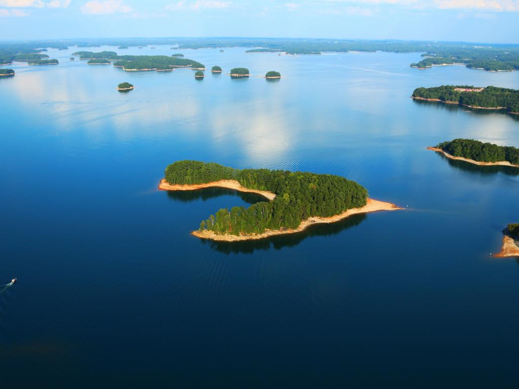 Aerial view of the many islands on Lake Lanier in Georgia