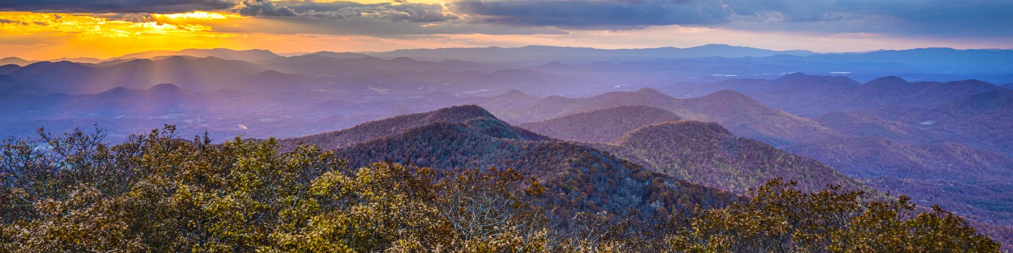 Blue Ridge Mountains in North Georgia, USA in the autumn season