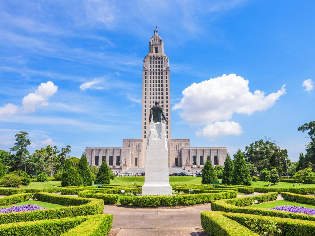 Louisiana State Capitol and statue of Huey Long in Baton Rouge, Louisiana