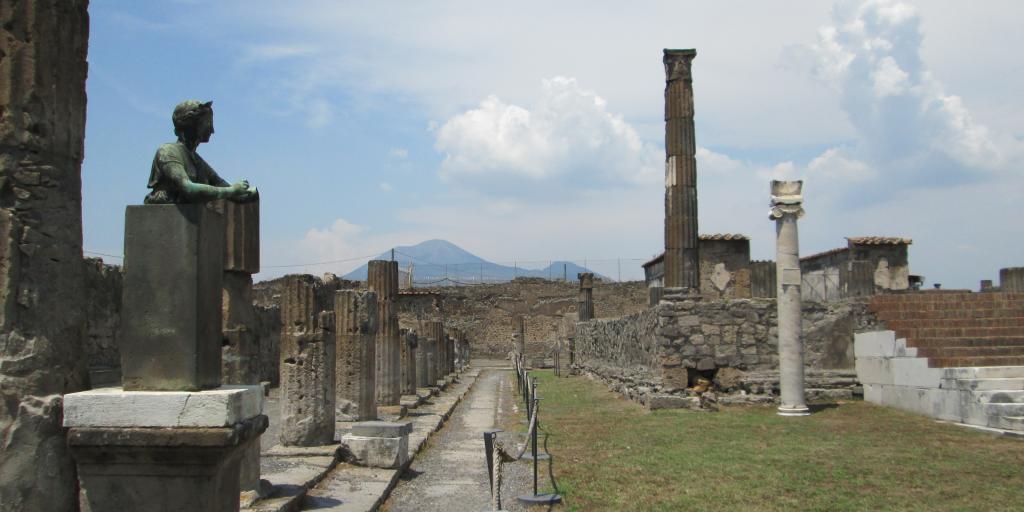 Mount Vesuvius looms in the background of the Pompeii excavation site