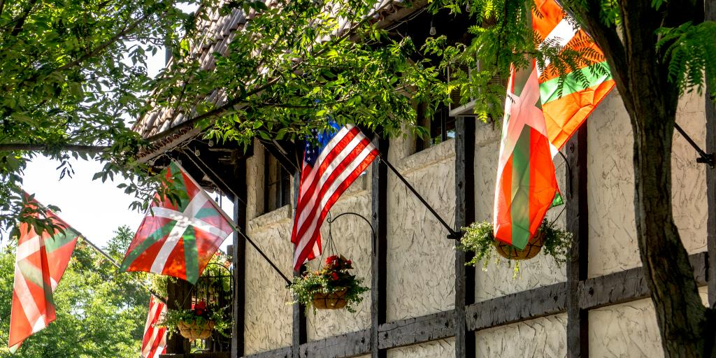 Flags fly on a historic building on Boise's Basque Block in Idaho
