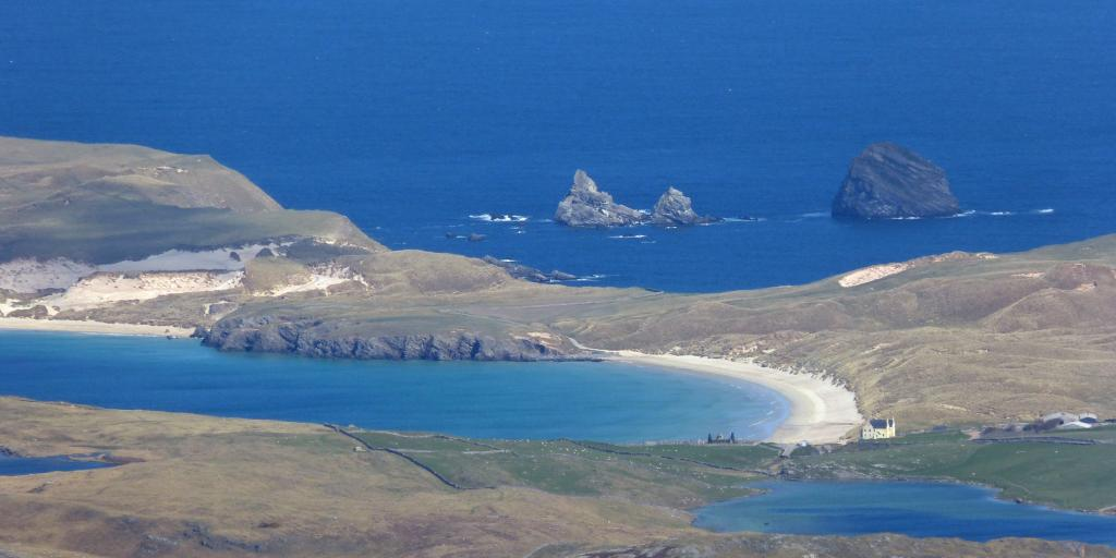 An aerial view of the crescent shaped Balnakeil Beach, Scotland.