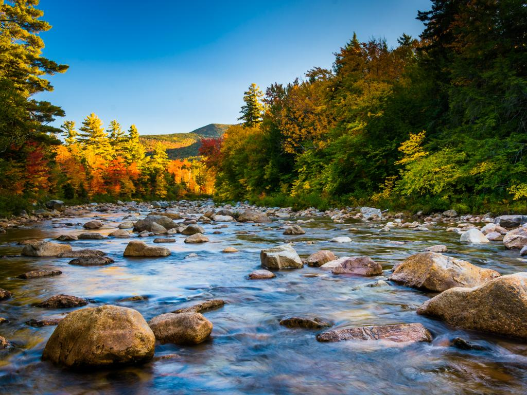 Swift River flowing next to the Kancamagus Highway in the White Mountains National Forest, New Hampshire.