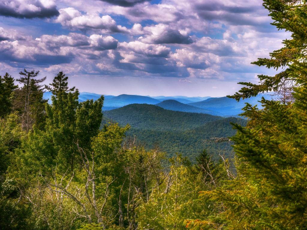 View across the Adirondack Park from the top of Mount Marcy, New York.