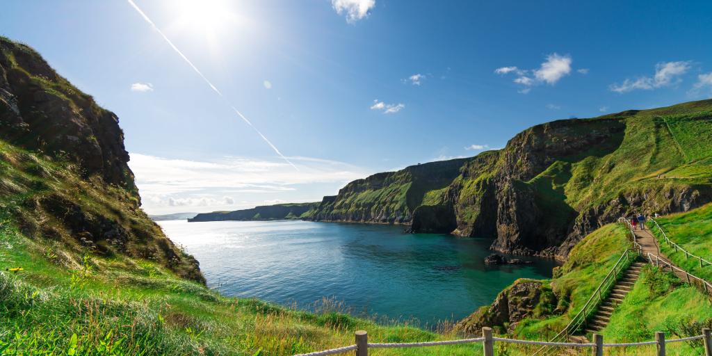 Beautiful landscape of cliffs in Ireland, with a staircase following the coast round