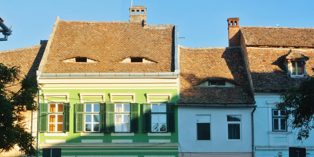 A roof with Eye-shaped windows in Sibiu, Romania
