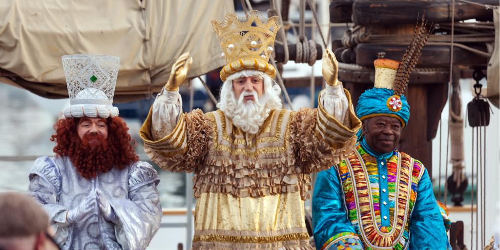 Cavalcade of Magi at the Three Kings Day parade in Barcelona, Spain