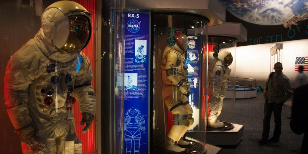Spacesuits on display at the Space Center Houston, Texas