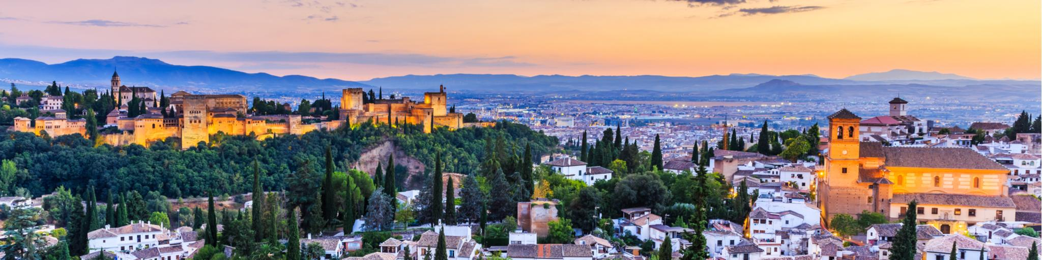 The Alhambra fortress on the Granada skyline in Spain