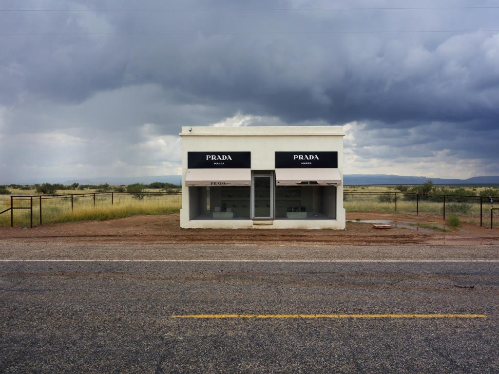 A small Prada store on a road in the middle of nowhere near Marfa, Texas.