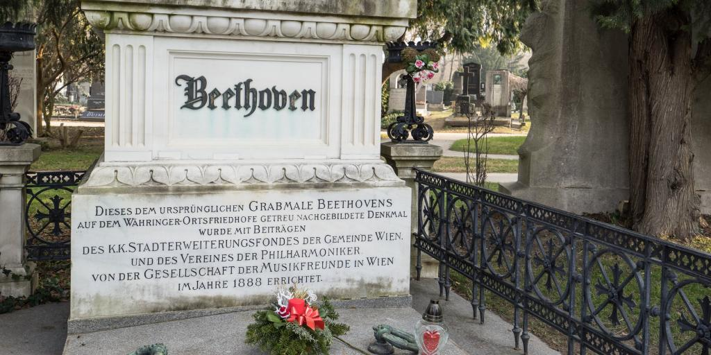 Beethoven's grave at Vienna central cemetery, with his name on the front