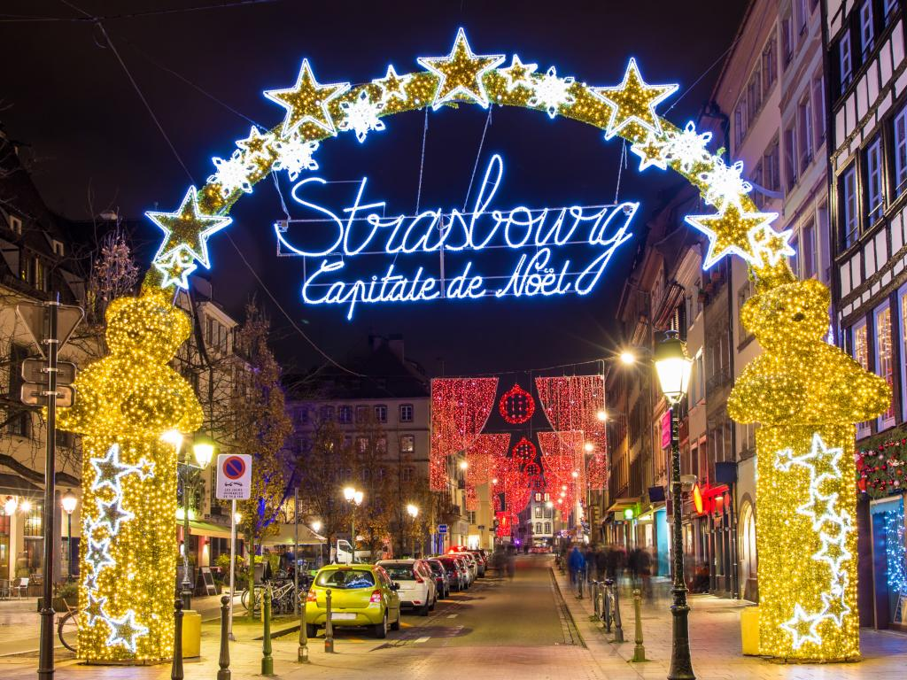 Strasbourg - Capital of Christmas sign at entrance to city center