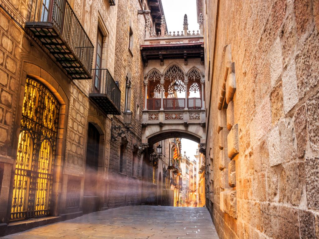 Bridge between buildings in Barri Gotic - Gothic quarter of Barcelona, Spain