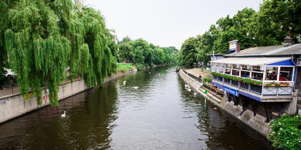 Boats on a canal in the Kreuzberg neighbourhood of Berlin