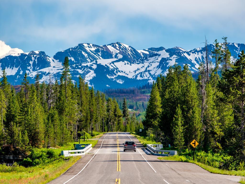 Road through Wyoming between Yellowstone National Park and Grand Teton National Park