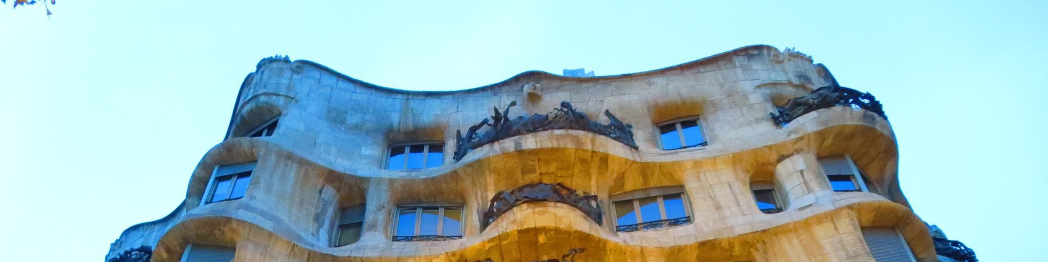 The wavy exterior walls of Casa Mila (aka La Pedrera), an apartment building in Barcelona designed by Gaudi