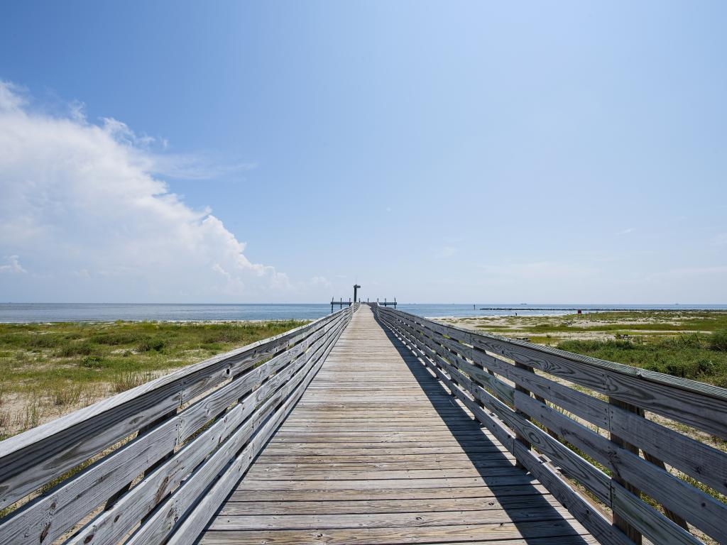 A fishing pier stretching into the Gulf of Mexico in Grand Isle, Louisiana