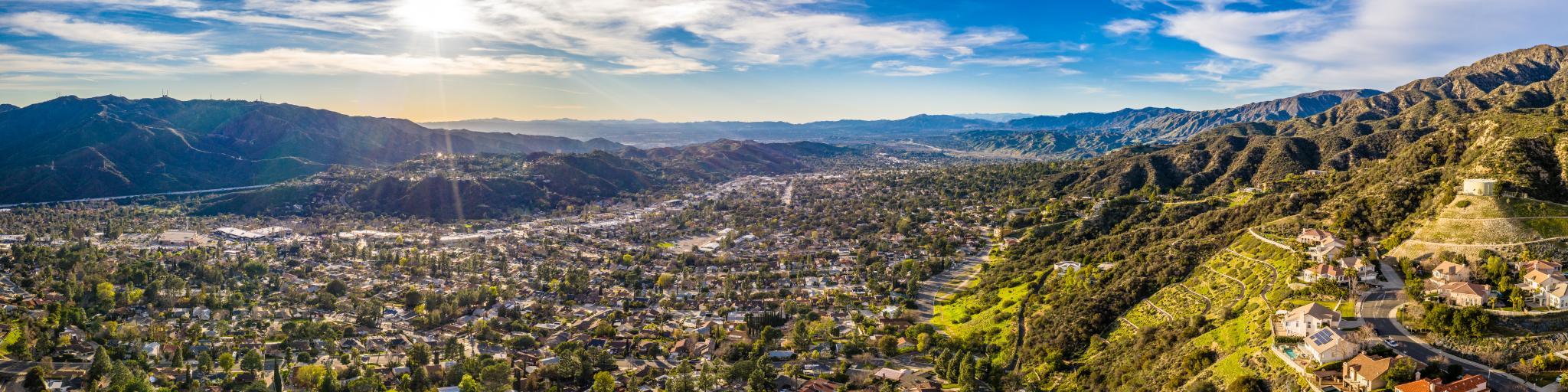 North Hollywood Burbank Glendale Pasadena aerial, Los Angeles Highway