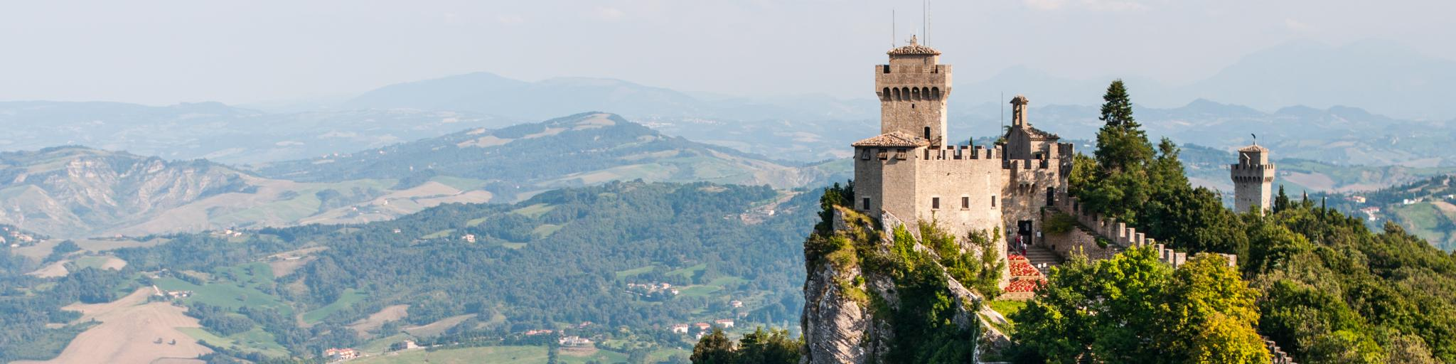 The 11th-century Guaita fortress sits on Monte Titano overlooking the city of San Marino