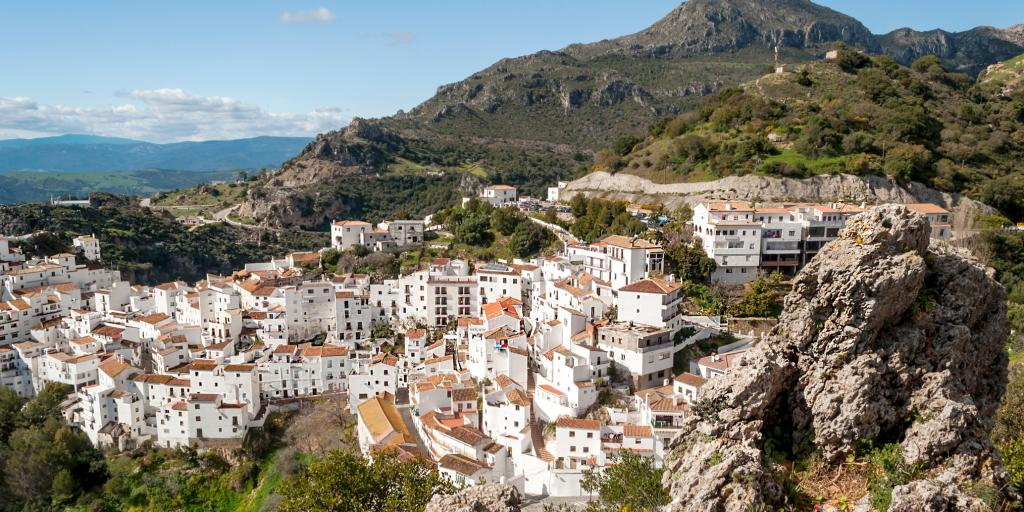 The white village of Casares in southern Spain is built into the hills