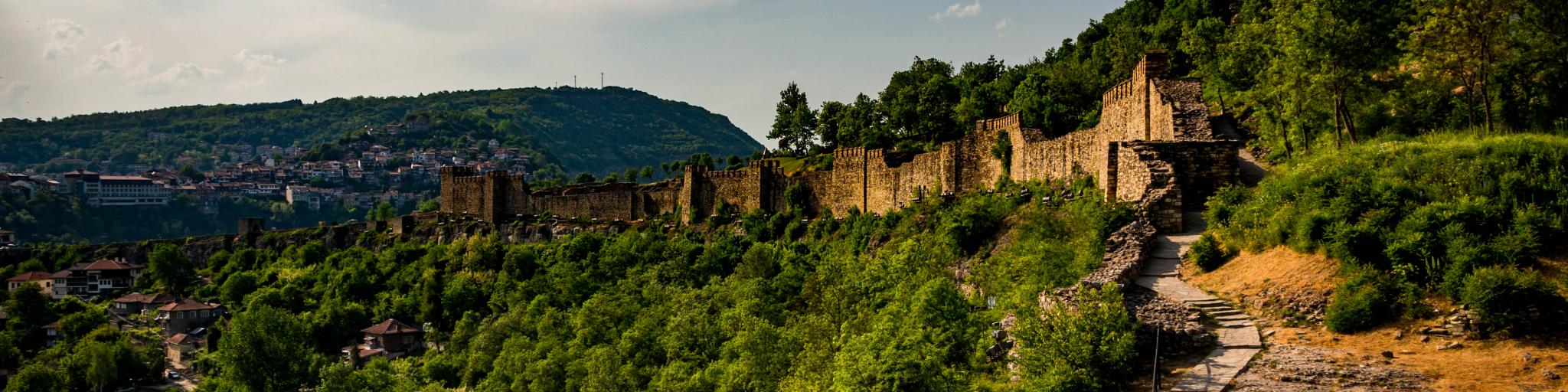 The medieval Tsarevets Fortress sits on a hill in the old city of Veliko Tarnovo