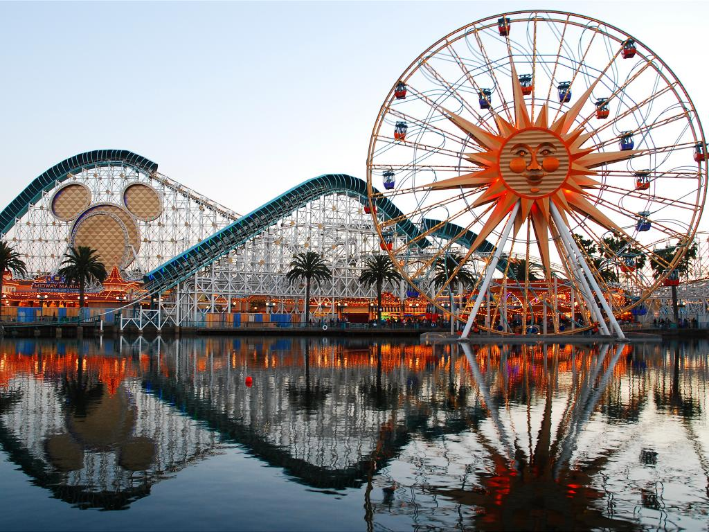 The Incredicoaster and Pixar Pal-A-Round rides in Disneyland in Anaheim, California