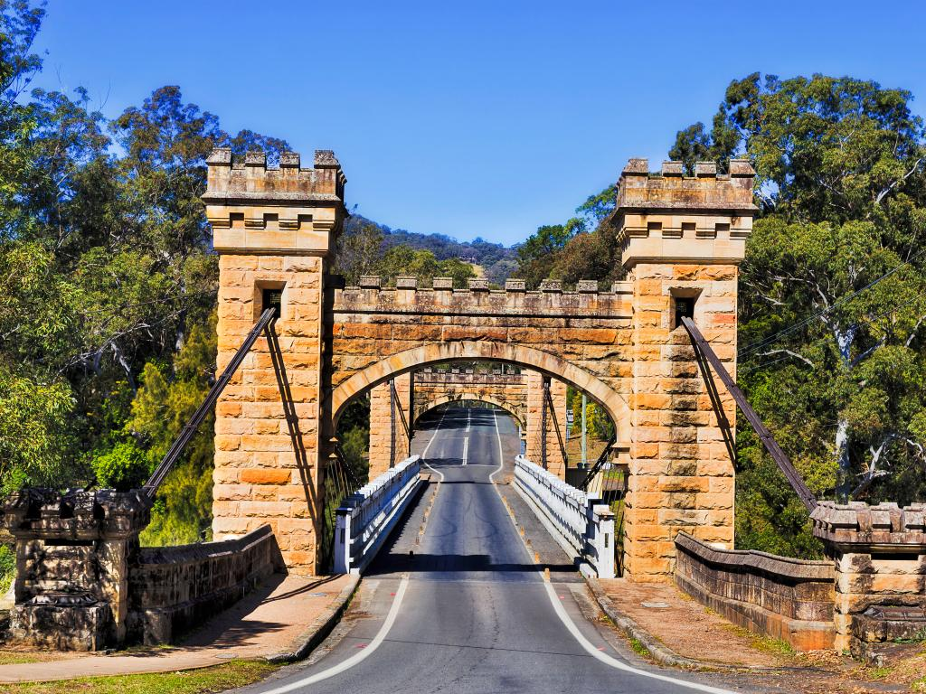Hampden Bridge along Moss Vale Road is a historic wooden suspension bridge across Kangaroo River in Kangaroo Valley.
