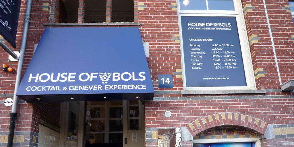 A blue awning over the entrance to House of Bols, Europe's oldest distillery