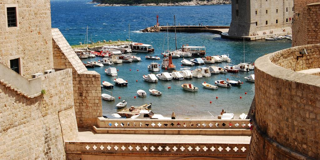 A view of boats on the sea from the Dubrovnik city walls, Croatia