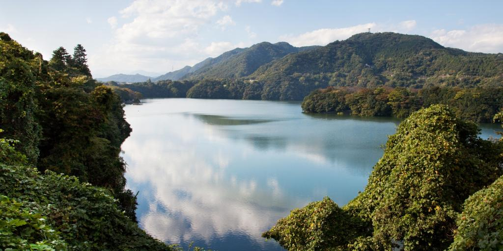 Green mountains and blue water of Lake Sagami, Japan