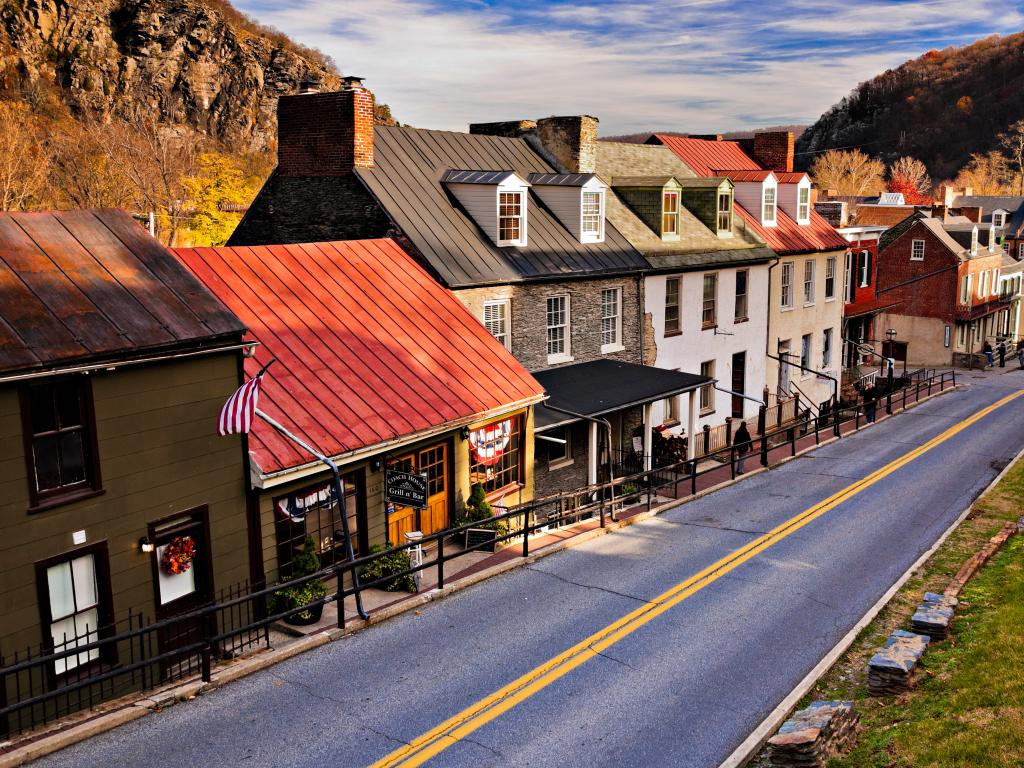 The historic houses and shops along High Street in Harpers Ferry, West Virginia