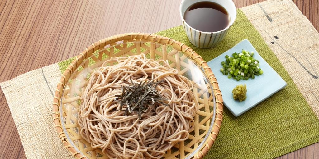 A traditional meal of soba noodles and soy sauce in Japan