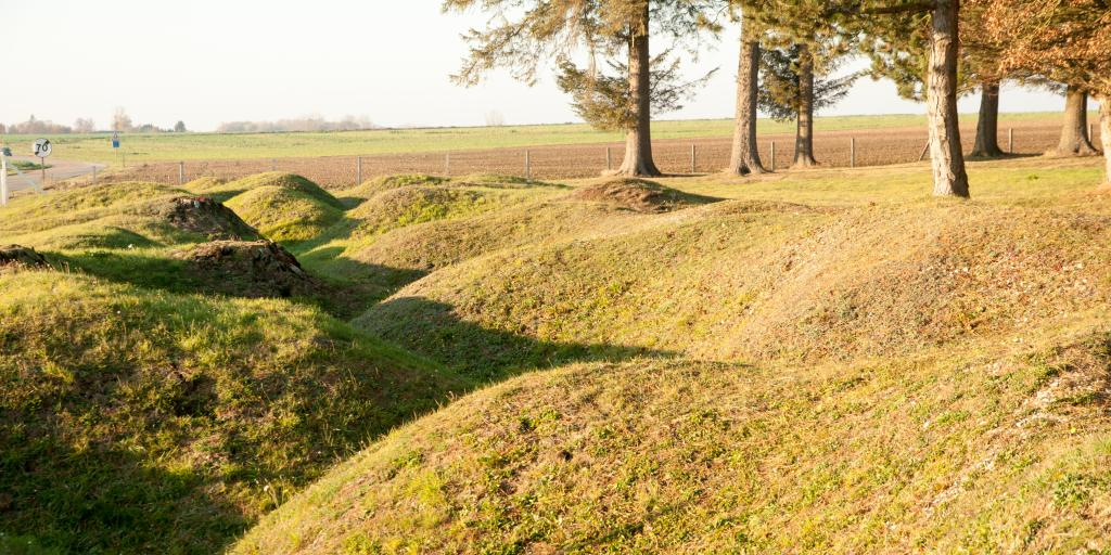 The grown over remains of trenches and bomb craters at the Beaumont Hamel Newfoundland Memorial, France