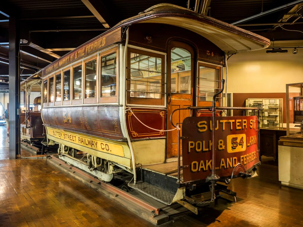 Old cable car at the Cable Car Museum in San Francisco