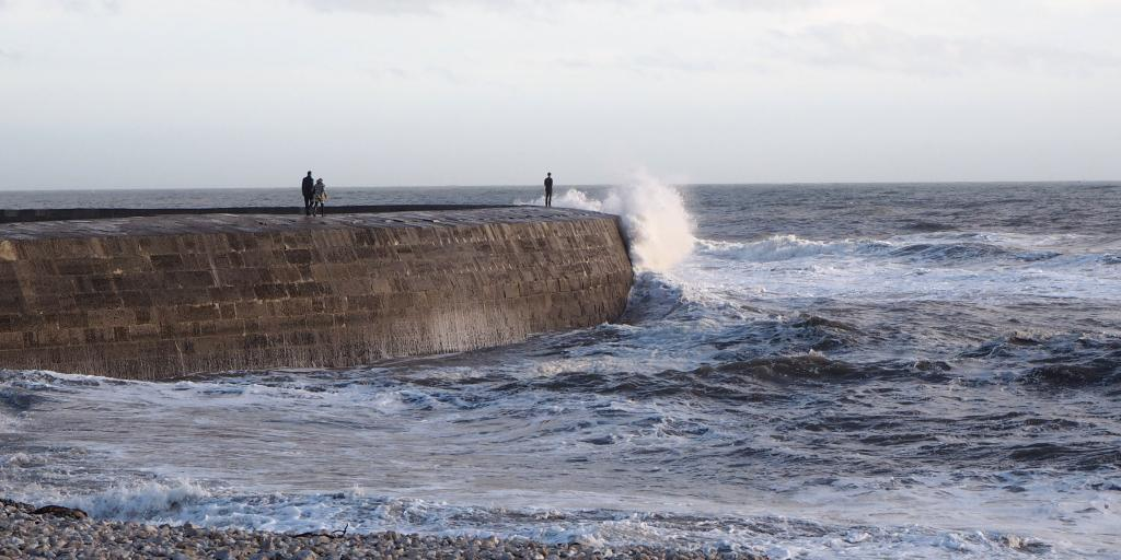 A wave breaking on The Cobb, Lyme Regis