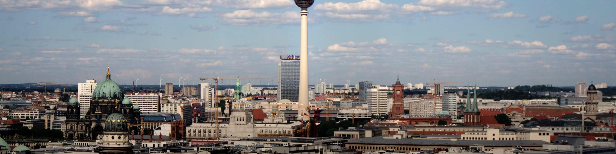 The Fernsehturm TV tower stands out in the skyline of Berlin
