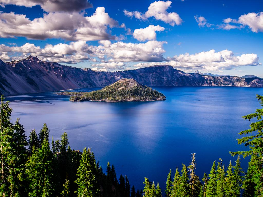Crater Lake and Wizard Island in the Crater Lake National Park, Oregon