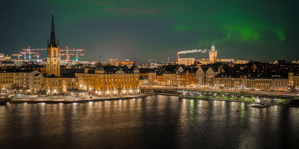 Stockholm lit up at night with a rare sighting of the Northern Lights