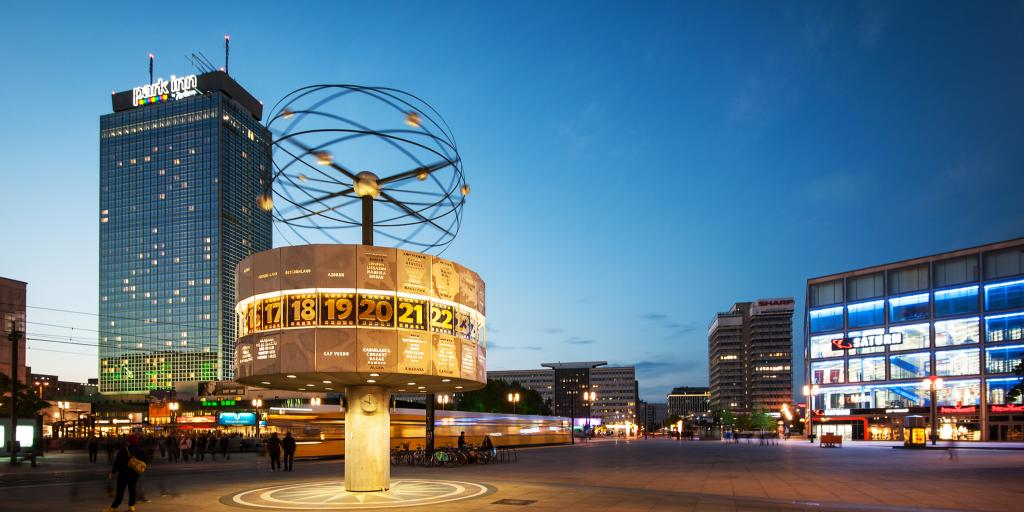 World clock lit up in Alexanderplatz in Berlin