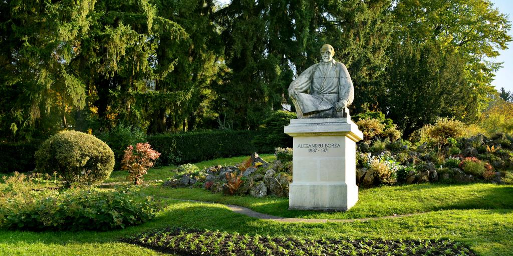 Statue of Romanian botanist Alexandru Borza at the Botanical Gardens in Cluj-Napoca
