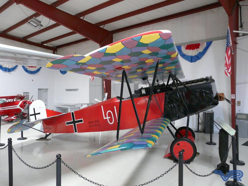 A classic colorful plane at the Cavanaugh Flight Museum in Addison, Texas
