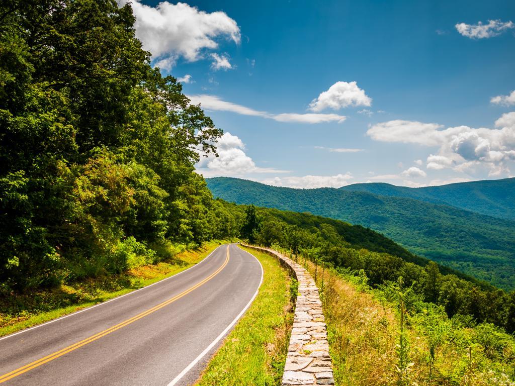 Skyline Drive in Virginia winding through the beautiful Shenandoah National Park.