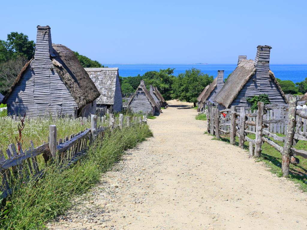 Pilgrim houses in the historic Plimouth Plantation in Plymouth, Massachusetts.